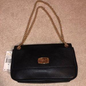 NWT Michael Kors Black purse Gold Chain Handle
